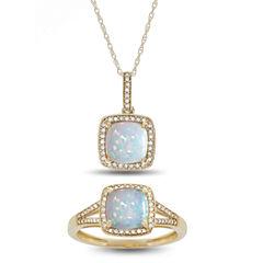Womens 2-pc. Multi Color Opal 10K Gold Jewelry Set
