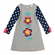 Rare Editions Long Sleeve Babydoll Dress - Toddler