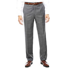 Stafford® Gray Glen Check Flat-Front Suit Pants - Classic Fit