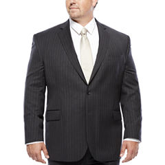 Stafford® Super 100 Charcoal Chalk-Stripe Wool Suit Jacket - Portly