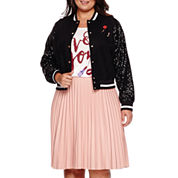Boutique+™ Ashley Nell Tipton Sequined Bomber Jacket, Graphic Tee & Pleated Faux-Leather Skirt​