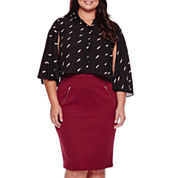 Boutique+™ Ashley Nell Tipton Cropped Long-Sleeve Button Down Shirt or Ashley Nell Tipton Quilted Pencil Skirt- Plus