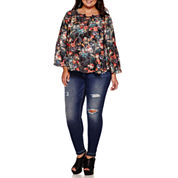 Boutique+ Long-Sleeve Lace-Up Peasant Blouse or 5-Pocket Skinny Jeans - Plus