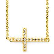 1/10 CT. T.W. Diamond Cross 14K Yellow Gold-Plated Mini Cross Pendant Necklace