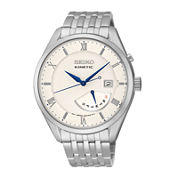 Seiko® Mens Stainless Steel Kinetic Watch SRN055