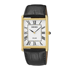 Seiko® Mens Black Leather Strap Solar Watch SUP880