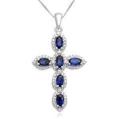 Lab-Created Blue & White Sapphire Cross Pendant Necklace