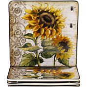 Certified International French Sunflowers Set of 4 Dinner Plates