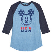 Novelty Season 3/4 Sleeve Mickey Mouse Graphic T-Shirt