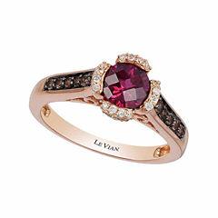 Grand Sample Sale™ by Le Vian® Raspberry Rhodolite®, Chocolate Quartz® & 1/10 CT. T.W. Vanilla Diamonds® in 14k Strawberry Gold® Chocolatier® Ring
