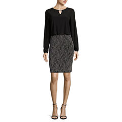Blue Sage Long-Sleeve Blouson Top with Glitter Print Skirt