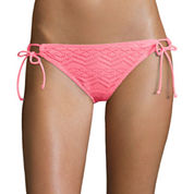 Arizona Art Deco Coral Side-Tie Hipster Swim Bottoms - Juniors