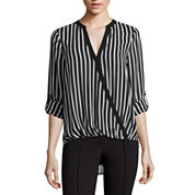 nicole by Nicole Miller® Long-Sleeve Striped Surplus Top