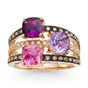 LIMITED QUANTITIES  LeVian Grand Sample Sale Chocolatier® Genuine Pink Tourmaline, Rhodolite and Amethyst Rose Gold Ring