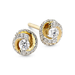 1/4 CT. T.W. Diamond 10K Yellow Gold Swirl Stud Earrings