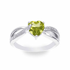 Diamond Accent Green Peridot Cocktail Ring