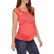 Planet Motherhood Maternity Sleeveless Lace-Yoke Tee