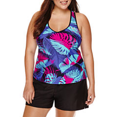 ZeroXposur® Glade Leaf-Printed Tankini or Knit Action Shorts - Plus
