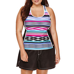 ZeroXposur® Echo Sport Striped Tankini or Woven Board Shorts - Plus
