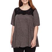 Alyx® Short-Sleeve Lace Crewneck Swing Tee - Plus