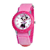 Disney Minnie Mouse Kids Time Teacher Crystal-Accent Pink Nylon Strap Watch