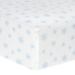 Trend Lab® Blue Snowflake-Print Fitted Flannel Crib Sheet