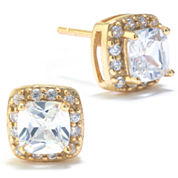 Silver Treasures Round White Cubic Zirconia Gold Over Silver Stud Earrings