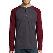 St. John's Bay® Long-Sleeve Baseball Henley Shirt