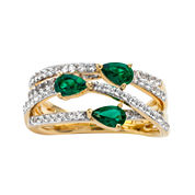 Lab-Created Emerald and White Sapphire 14K Yellow Gold Over Sterling Silver Criss-Cross Ring