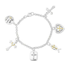 Two-Tone Sterling Silver Faith Charm Bracelet