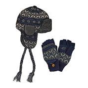 MUK LUKS® 2-pc. Fair Isle Trapper Hat and Flip Gloves Set