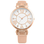 Mixit® Womens Gold-Tone and Pink Bangle Watch