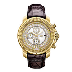 JBW 18k Gold-Plated Stainless-Steel Titus Mens Brown Strap Watch-J6347l-A