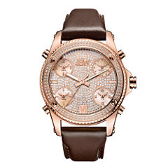 JBW 18k Rose Gold-Plated Stainless Steel Jet Setter Mens Rose Goldtone Strap Watch-J6354c