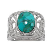 Enhanced Turquoise Sterling Silver Filigree Band Ring