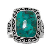 Enhanced Turquoise Oxidized Sterling Silver Square Ring