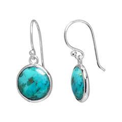 Enhanced Turquoise Sterling Silver Drop Earrings