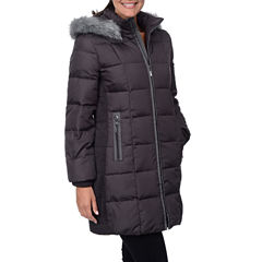 Fleet Street Side-Ruched Down Puffer Jacket with Faux-Fur Hood