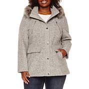 a.n.a® Faux-Fur Trim Anorak Wool-Blend Coat - Plus