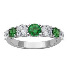 DiamonArt® Sterling Silver Green & White Cubic Zirconia Band Ring