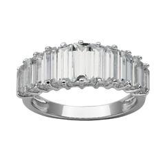 DiamonArt® Sterling Silver Baguette Cubic Zirconia Ring