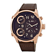 JBW The G4 Mens Diamond-Accent Brown Leather Strap Watch J6248LH