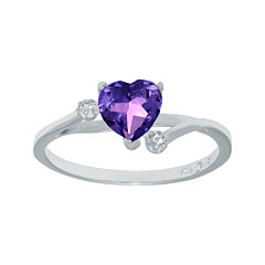 Genuine Amethyst and White Topaz Sterling Silver Heart-Shaped Ring