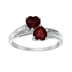 Genuine Garnet and Diamond-Accent Sterling Silver Double-Heart Ring