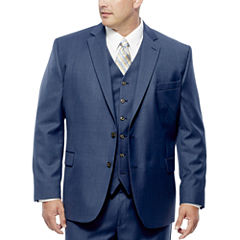 Stafford® Travel Medium Blue Suit Jacket - Portly Fit