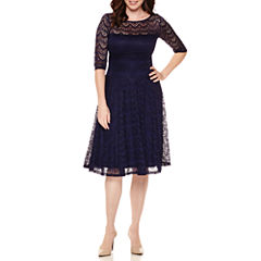 Sangria 3/4-Sleeve Lace Midi Fit-and-Flare Dress