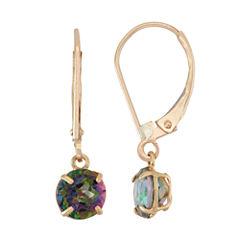 Green Mystic Fire Topaz 10K Gold Drop Earrings