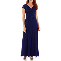 Blu Sage Short-Sleeve Lace Formal Gown