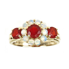 LIMITED QUANTITIES  Genuine Opal and Fire Opal 3-Stone Ring