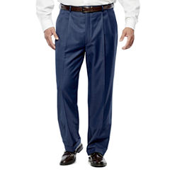 Stafford Travel Wool Blend Mid Blue Pleated Pants-Portly